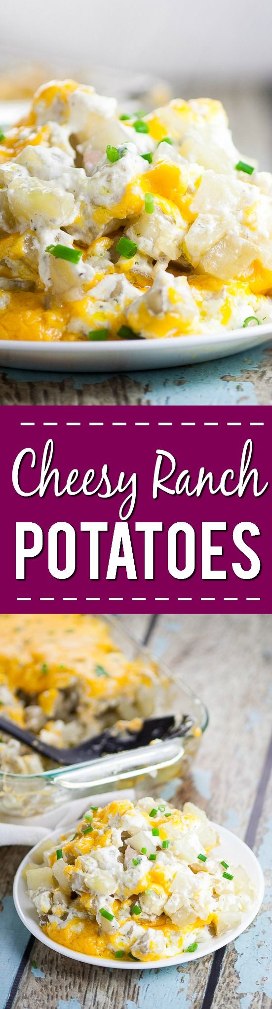 Cheesy Ranch Potatoes Recipe - Creamy, Cheesy Ranch Potatoes are the ultimate comfort food recipe that everyone will love.  Perfect for potlucks, holidays, and a crowd favorite dish to pass. Soft, warm potatoes covered in creamy ranch and cream cheese and topped with gooey melted cheddar.  Easy potato side dish recipe.