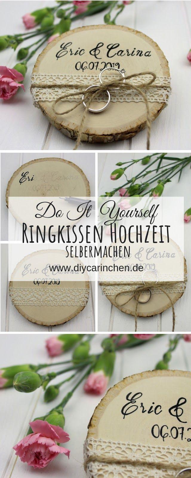 DIY – Rustikales Ringkissen auf einer Baumscheibe ganz einfach selber machen – perfekt für eure Hochzeit