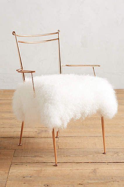 Shag Puff Dressing Chair - anthropologie.com