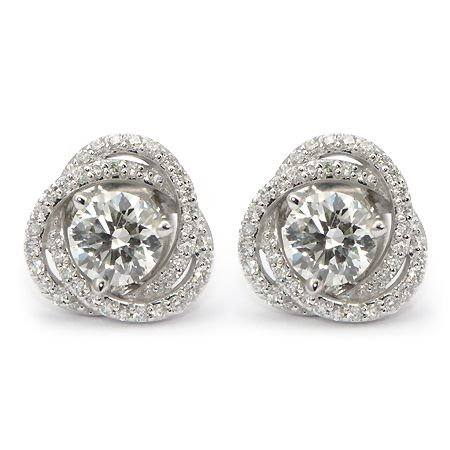 round products earrings gold diamond blue stud cttw colored white womens fashion