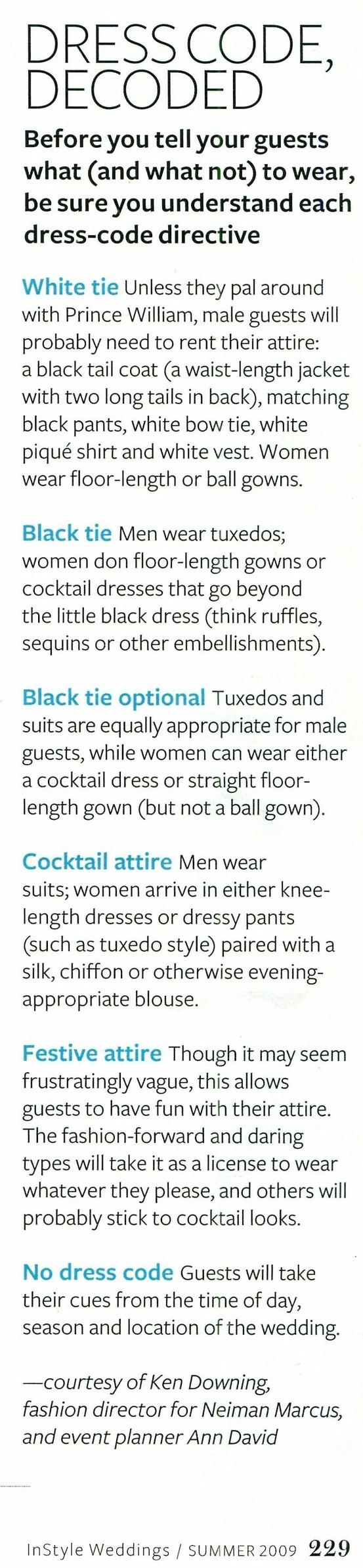 Wedding dress codes decoded