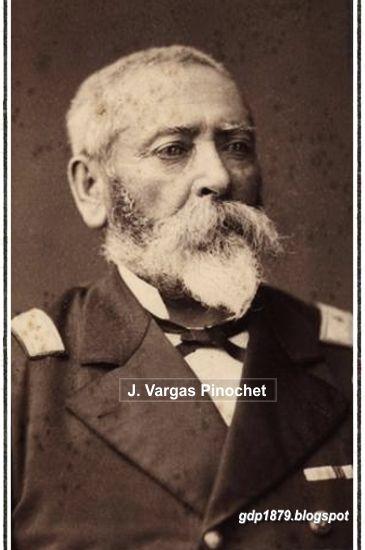 """Juan Antonio Vargas Pinochet, (1814-1880). 1827 ingresa al ejército como Cadete del Batallón """"Carampangue"""" 7° de Línea. Peleó en Chillán (1829) recibiendo su primera herida de bala. Participó en Lircai y en Guías, 1838 peleó en Piura y en Casma en 1839, víspera de la Batalla de Yungai. En la guerra del Pacífico organizó el Batallón Cívico Chillán. Participó en Tacna en la 1º división. Recibió tres heridas, una en el brazo izquierdo y otra le atravesó la espalda. Falleció en Tacna de…"""
