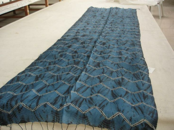 turquoise blue shibori stole with joint triangular design