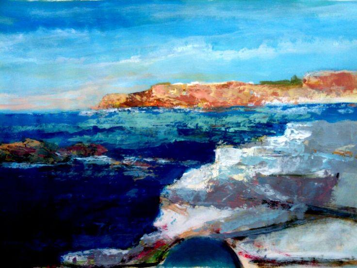 paesaggio greco tecnica mista