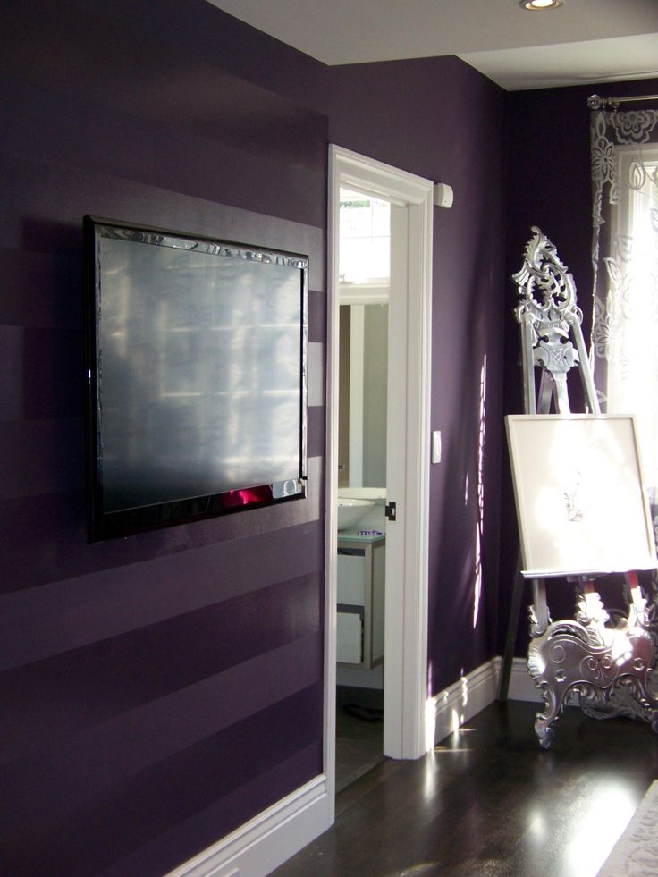 matte/high gloss deep purple walls, this would look awesome in navy too.    My bedroom..... Yes!