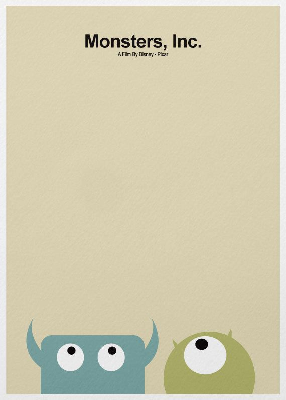 minimalist movie poster. Monsters, Inc.