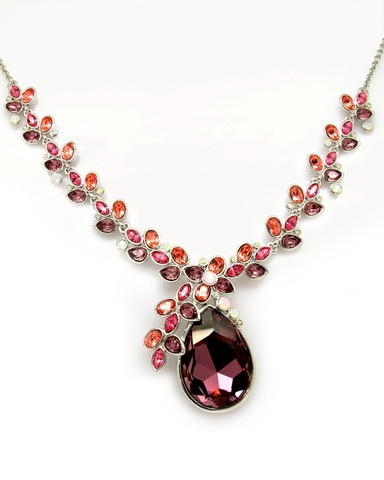 Stunning statement necklace made with Swarovski Crystals on 18K White Gold Plated!  Please note this is a special order item and may take up to three weeks for delivery.  $125