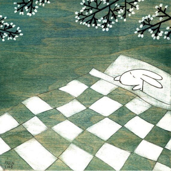 Napping Under Marshmallow Tree by krisblues on Etsy, $20.00