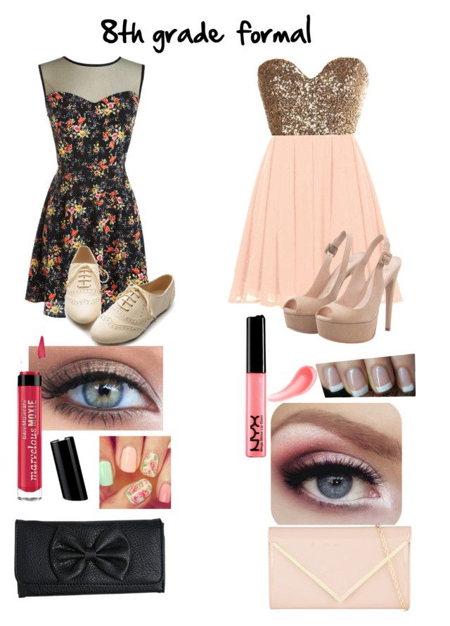 """8th Grade Formal Outifts"" by jennifer-k-kievit ❤ liked on Polyvore featuring Ollio, NYX, Urban Decay, Bare Escentuals, OPI, Wet Seal and ALDO"