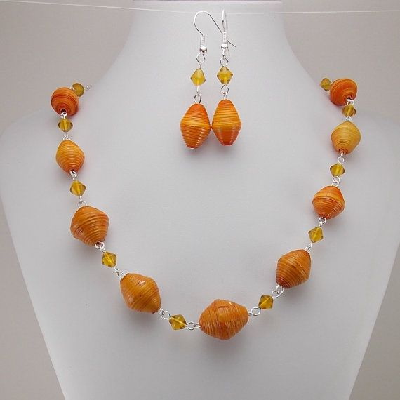 Paper Beads - Necklace and Earring Set - Orange and Amber Yellow