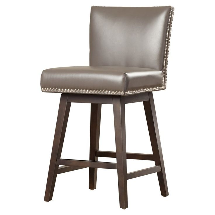 The newest addition to the Sunpan Modern's very popular 5West collection, this swivel barstool features a glamorous double row of nail head. It is stocked in bonded leather with a metal plate on the footrest. It is finished with espresso frame and legs.