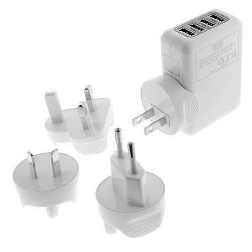Importer520 Universal 4-Port Wall USB Wall Travel Home to AC Power Adapter 2.1 Amp Charger Travel Kit with Interchangeable Plugs (US, UK, EU, AU) For Nokia Mural 6750; iPhone 6 6 Plus 5s, 5c, 5, 4s, 4; iPad 5, Air, Mini; Samsung Galaxy S5 ACTIVE, S4, S3, S2, Note 4 3, 2; Google Nexus 4, 5, 7, 10; Motorola Droid Razr Maxx Moto X; HTC One X V S M8/ACE M7 M4,Mini; LG G2 G3 G Flex,G Pro 2,G Pad; Nokia Lumia 920 1020 1520 2520; Sony Xperia Z2;PS 4; Bluetooth Speakers & Headsets; External Battery…