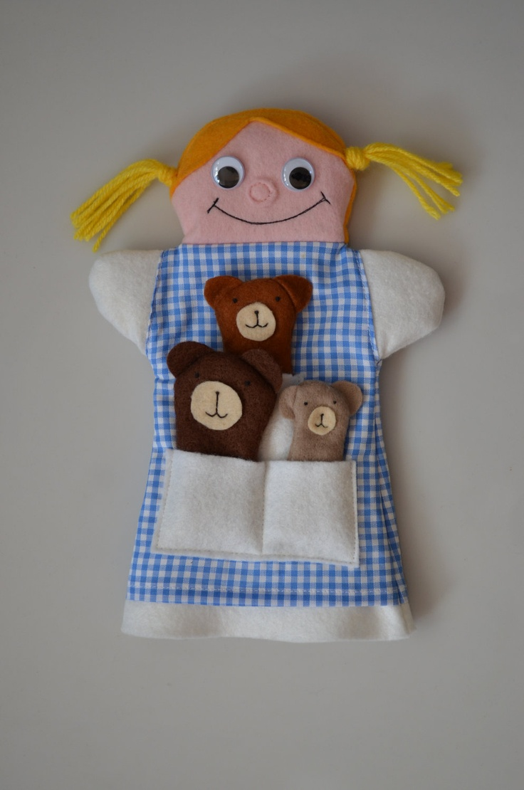 Goldilocks Hand Puppet & 3 Bears Finger Puppets by sandpitkids, $50.00