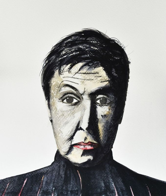 """""""Sir Paul McCartney"""" by Paul Baker Jones. Watercolour on Paper, Subject: People and portraits, Unspecified style, One of a kind artwork, Signed on the back, This artwork is sold unframed, Size: 31 x 35.2 x 0.15 cm (unframed), 12.2 x 13.86 x 0.06 in (unframed), Materials: W&N Pro Paints, Bockingford Archival Acid Free 300gsm, Rotring Pen, Charcoal Pencil, 4B and 2B Pencil."""