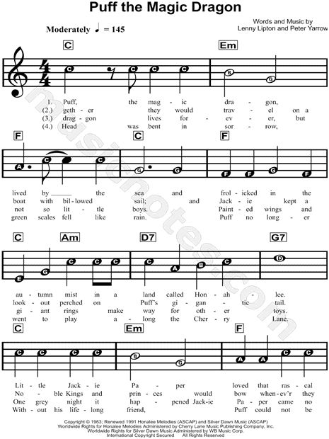 """Peter Paul and Mary """"Puff (The Magic Dragon)"""" Sheet Music for Beginners - Download & Print"""