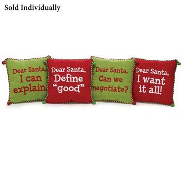 Dear Santa Message Decorative Pillows 12X12     $19