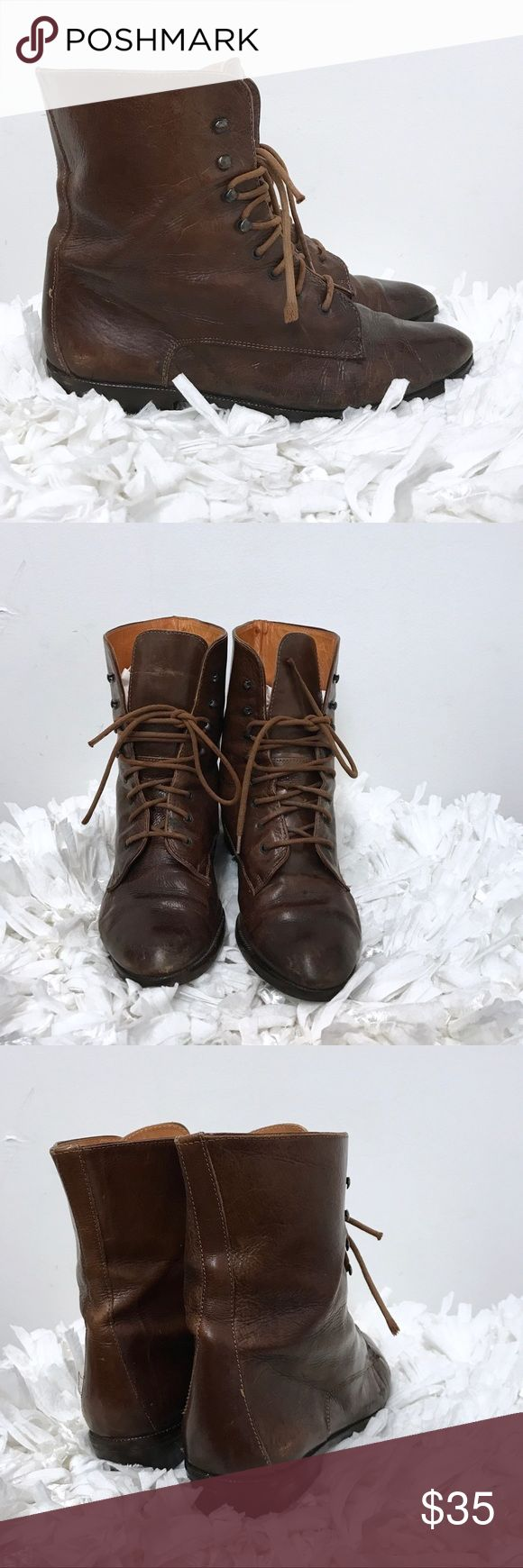 Joan & David brown leather ankle boots sz 8 Joan David brown leather ankle boots. Good condition. Have a bit of a distressed look to them. Very comfortable. Joan & David Shoes Ankle Boots & Booties