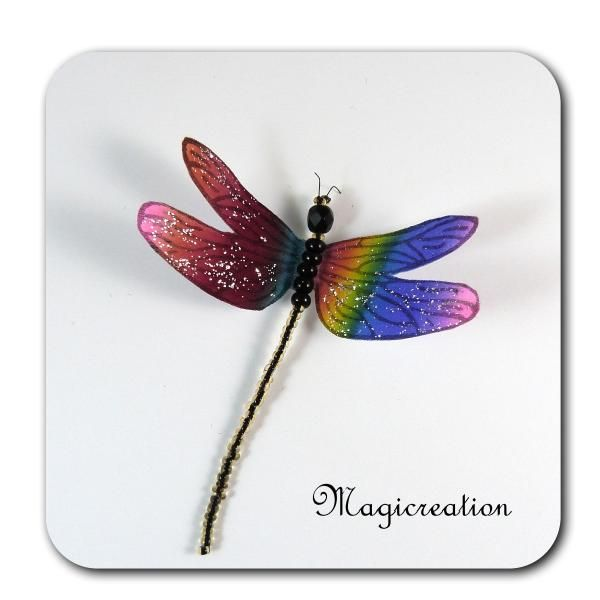 MAGNET LIBELLULE SOIE MULTICOLORE n°2 -DEMOISELLE - Boutique www.magicreation.fr