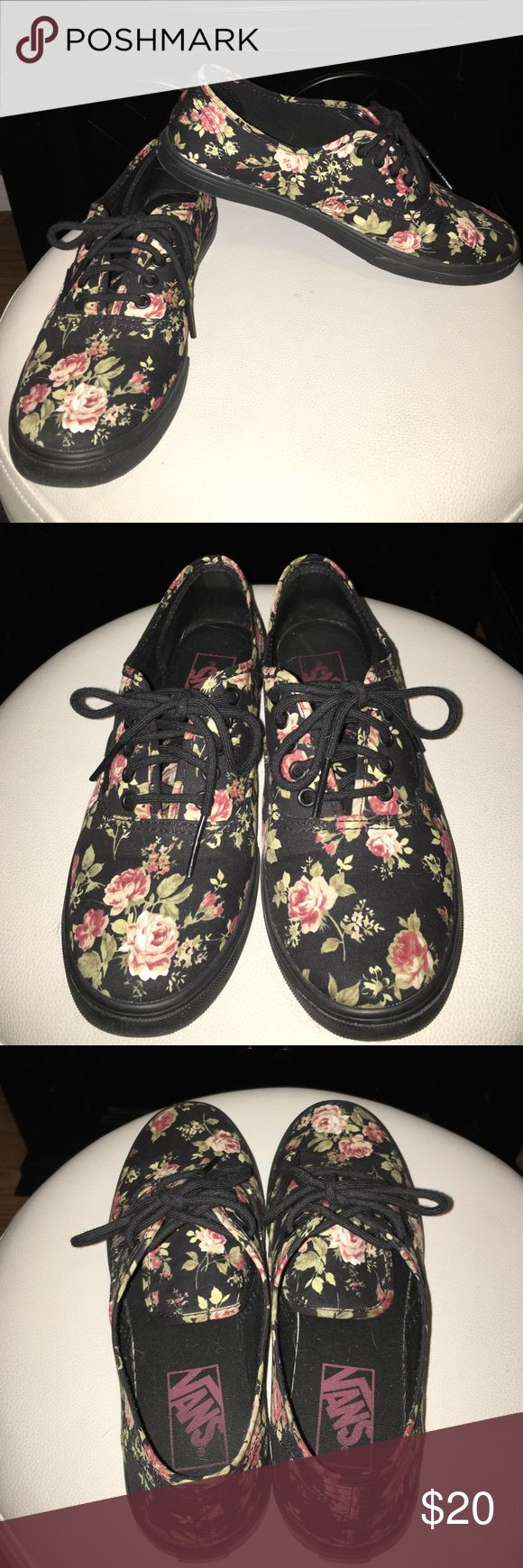 black floral vans lo pro , worn but taken super good care of and look brand new Vans Shoes Sneakers