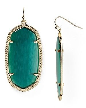 """Kendra Scott Danielle Earrings   14k gold–plated brass/color-enhanced glass, magnesite, jade or Mother of Pearl   Imported   2""""L   French wire   Photo may have been enlarged and/or enhanced   Nickel f"""