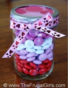 A mason jar, some scrapbook paper, ribbon, M & M's and about 5 minutes of your time make for a very frugal but fun (and tasty) gift