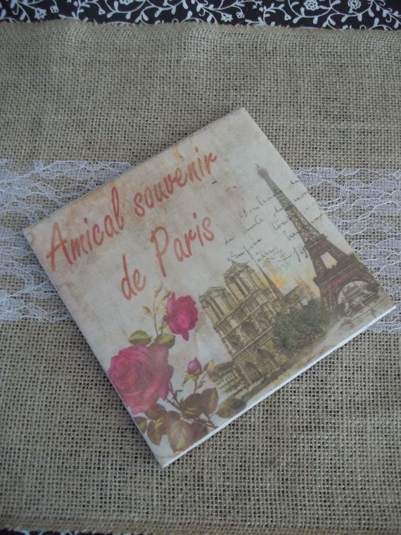 Ceramic Tile Paris Theme Kitchen Trivet Coaster Spoon