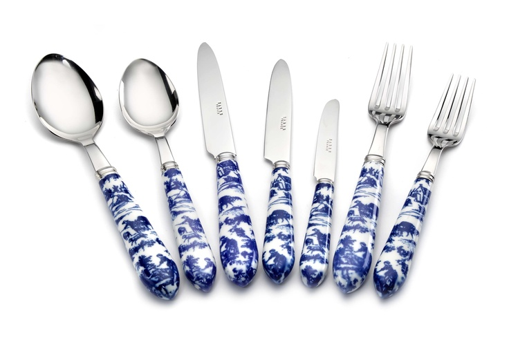 Toile Blue and White Cutlery - Nina Campbell