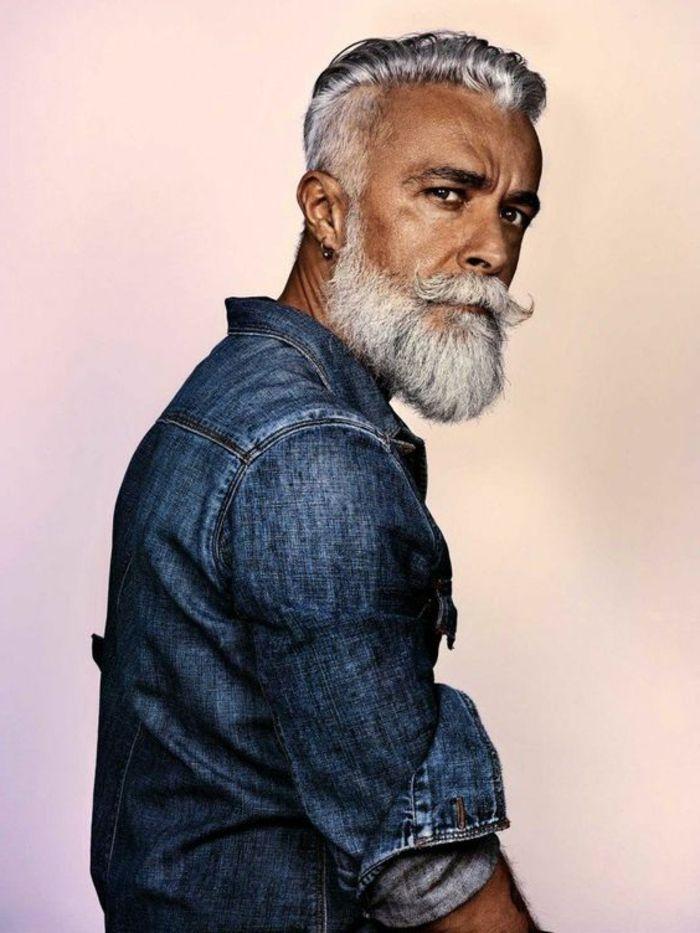 hombre adulto, camisa azul, tipos de barba, camisa, ropa a la moda, barba blanca