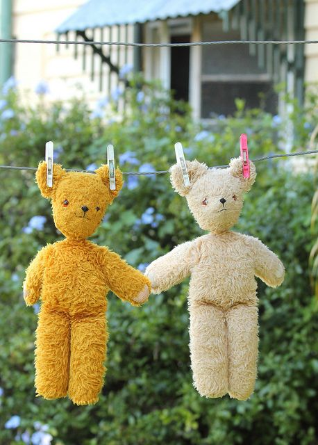 Washday  Just hangin' around.  By Crazy House Capers; teddy bears