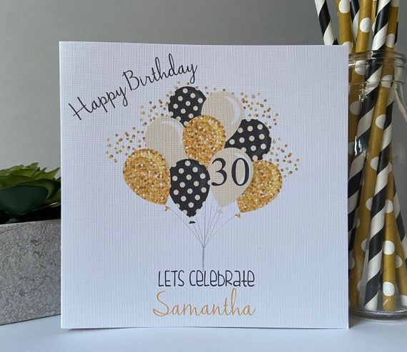 Personalised Birthday Card Balloons Male Female Son Daughter Best Friend 16th 18th 21st 30th 40th 50th 60th Any Age 30th Birthday Cards 60th Birthday Cards 21st Birthday Cards