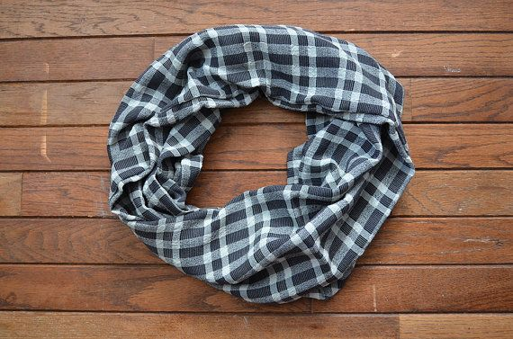 Gifts For Him Gifts For Her Black White Plaid Infinity Scarf by RailroadAndHolly - $35