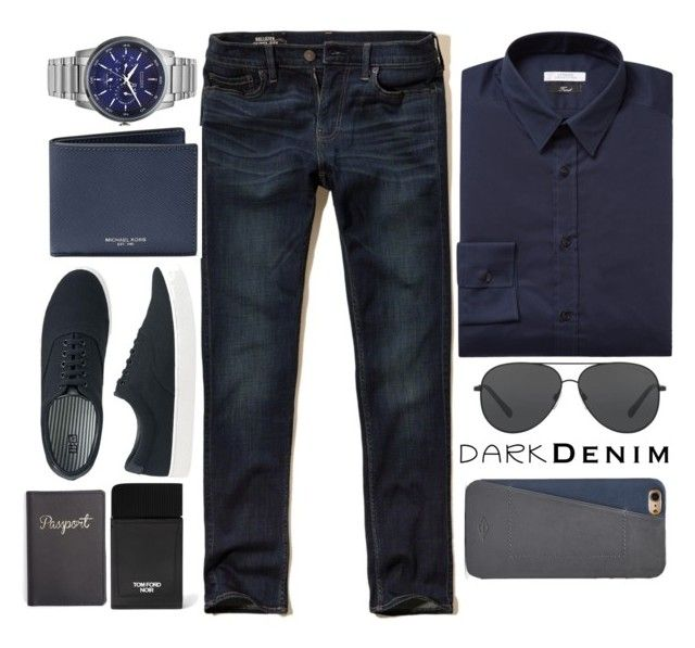 """""""Dark Denim"""" by jadeandsonic ❤ liked on Polyvore featuring Hollister Co., Versace, Citizen, Michael Kors, Uniqlo, Tom Ford, Royce Leather, FOSSIL, men's fashion and menswear"""