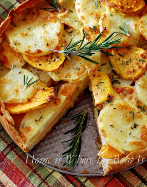 Potato Gratin with Rosemary...sweet potatoes and yukon gold...yummy