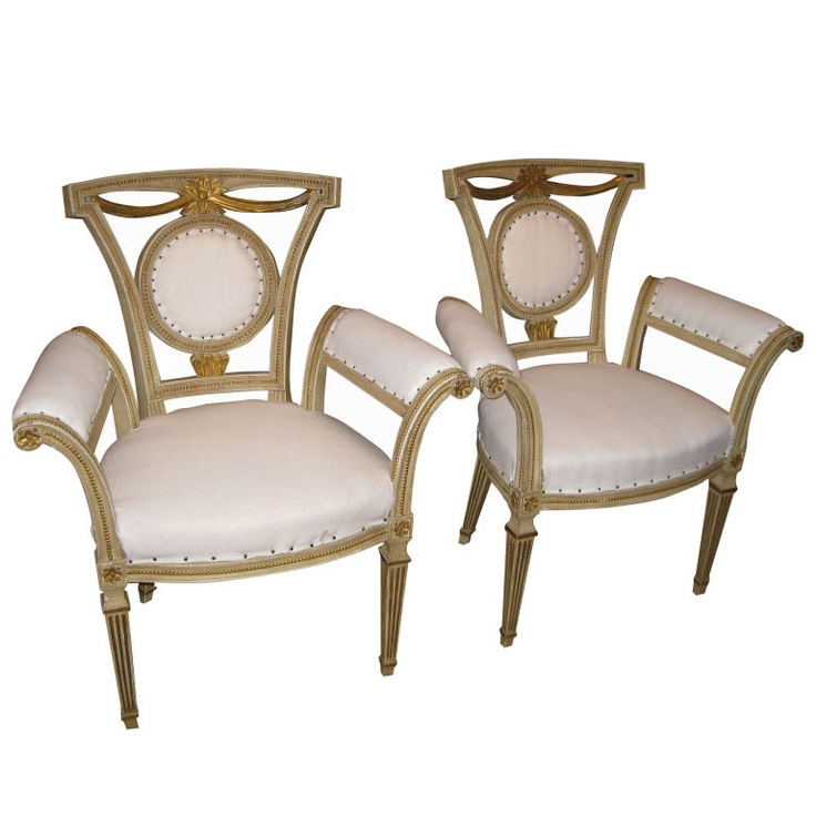 1stdibs pair of italian style carved and painted arm chairs