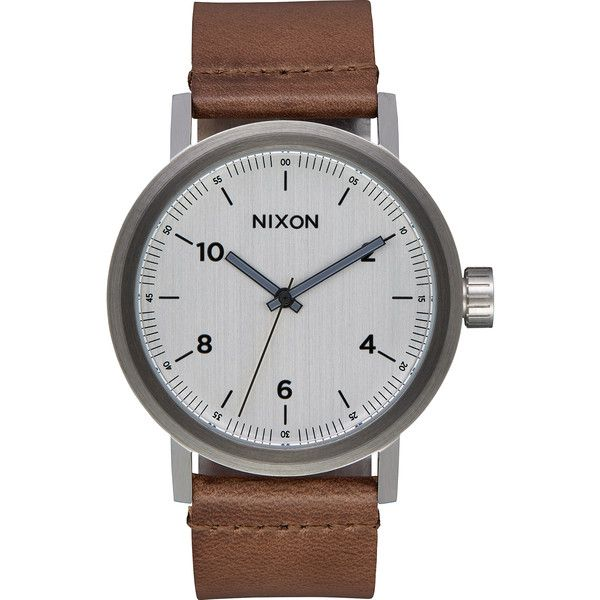 Nixon The Stark Leather Watch Silver ($180) ❤ liked on Polyvore featuring men's fashion, men's jewelry, men's watches, accessories, men, silver, watches, mens water resistant watches, men's blue dial watches and mens leather watches