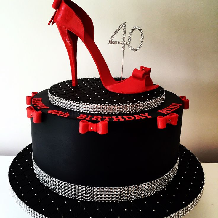 Glam 40th Female Birthday Cake Edible Sugar Shoe Sharpe