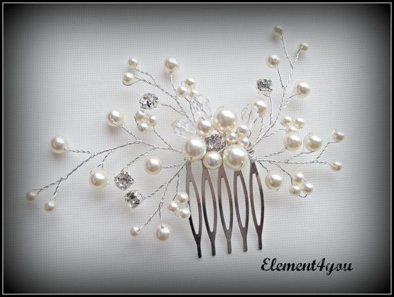 Beautiful bridal hair comb made with Swarovski ivory (available in white too) pearls, rhinestones, and teardrop crystals. SO pretty!! By Element4you