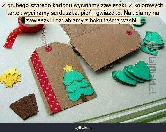 Zawieszki na prezenty - Z grubego szarego kartonu wycinamy zawieszki. Z kolorowych kartek wycinamy serduszka, pień i gwiazdkę. Naklejamy na zawieszki i ozdabiamy z boku taśmą washi.