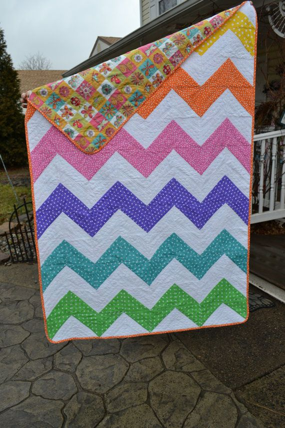 Modern Quilt Chevron Rainbow Colored Funky Dotted Spotted ...