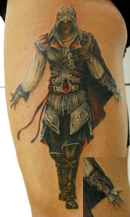 This is a rad tattoo of the protagonist fromAssassin's Creed. #InkedMagazine #videogame #tattoos #inked #tattoo #ink #Assassin #AssassinsCreed