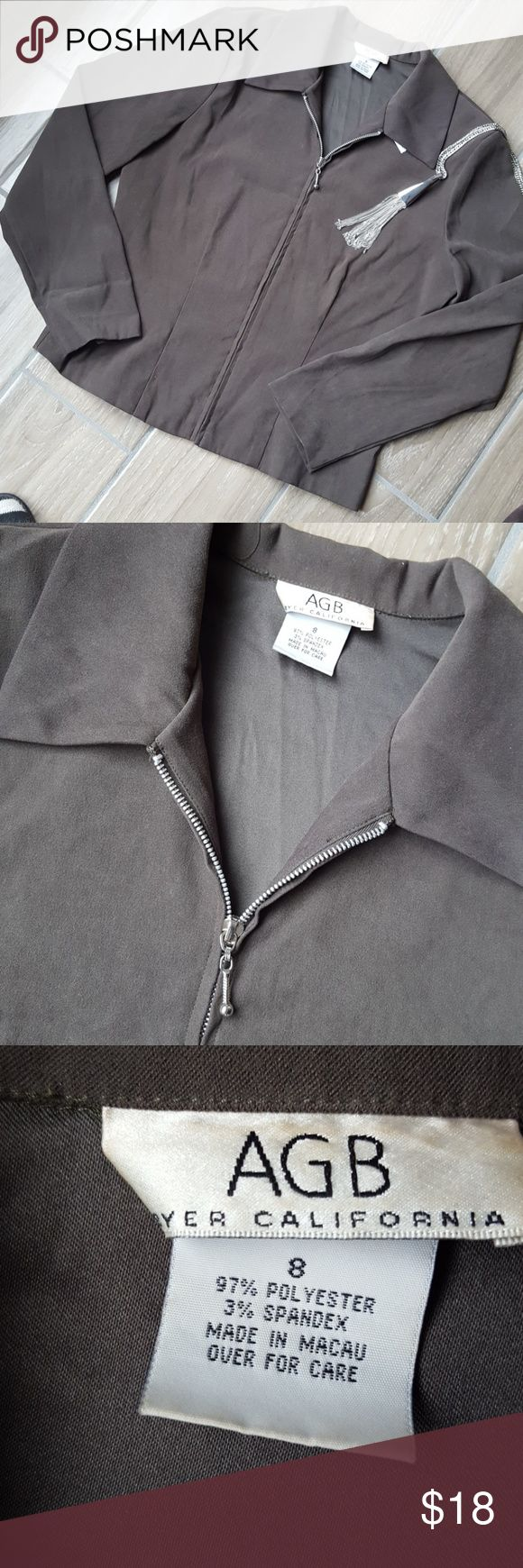 Olive green zip up jacket Olive green silver zip up jacket soft woven fabric AGB Jackets & Coats Blazers