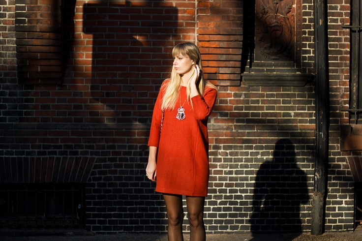 Orange wool COS dress styleabaad.com
