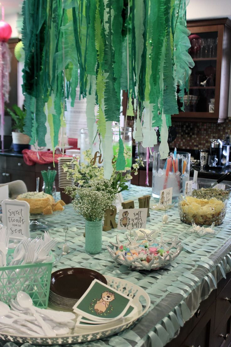 Drew's Sea Otter birthday party! Seaweed made from hula hoops, ribbon, tulle, and streamers