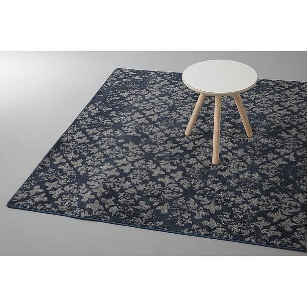 laagpolig vloerkleed, donkerblauw met biege in grafische verlopen baroque print 160x230  euro 129