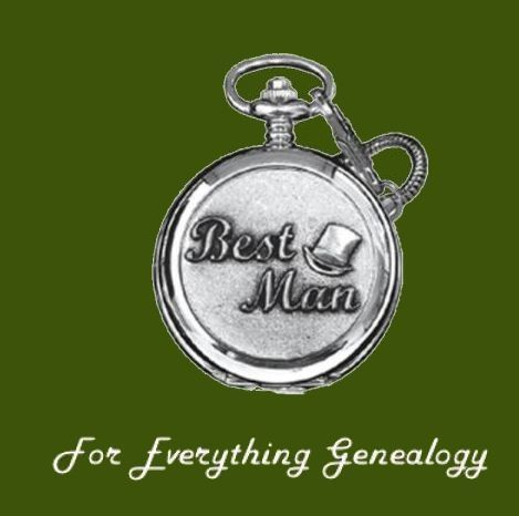 Best Man Themed Pewter Motif Chrome Pocket Watch