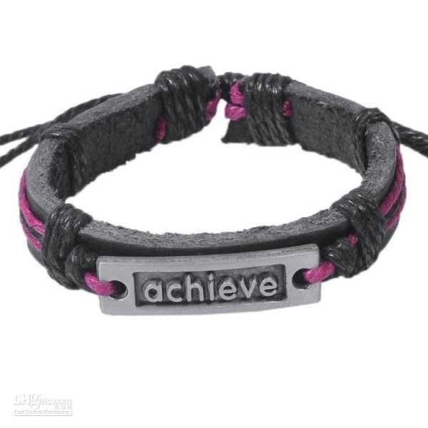 Inspirational Leather Bracelet - 'ACHIEVE' (#2011226)      Inspirational Leather Bracelet with 'ACHIEVE' metal plate          An on trend handmade leather bracelet, this high quality natural leather bracelet boasts an cool Achieve symbol on a metal plaque.       Stack up on fashionable leather wrap bracelets as they are this seasons must have fashion accessory!       The closure is very unique. You can increase the size of the bracelet by pulling each side of the bracelet. You can put your…