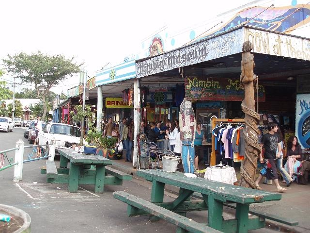 Nimbin main street. Nimbin is a small town in northern NSW renowned for its hippy culture.