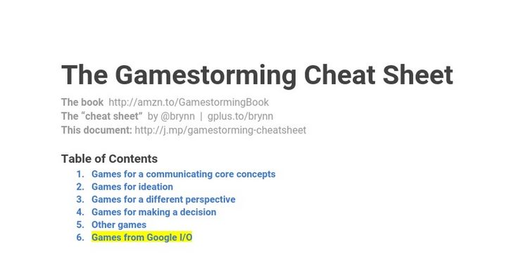 """The Gamestorming Cheat Sheet The book  http://amzn.to/GamestormingBook The """"cheat sheet""""  by @brynn  