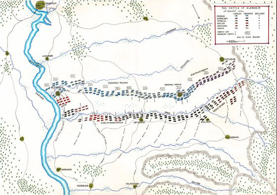 Map of the Battle of Blenheim 2nd August 1704 by John Fawkes