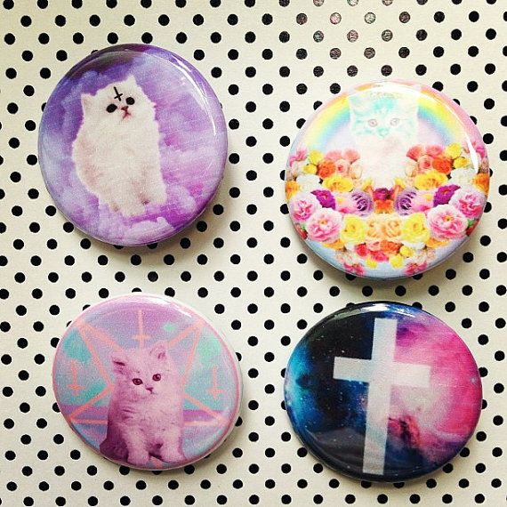 Pastel Goth Soft Grunge Kawaii Set Of 4 Buttons Plus 1 Free Button Gift With Purchase
